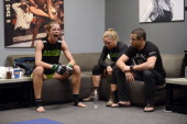 Jessamyn Duke sits with Coach Ronda Rousey before her preliminary fight against Raquel Pennington during filming of season eighteen of The Ultimate...
