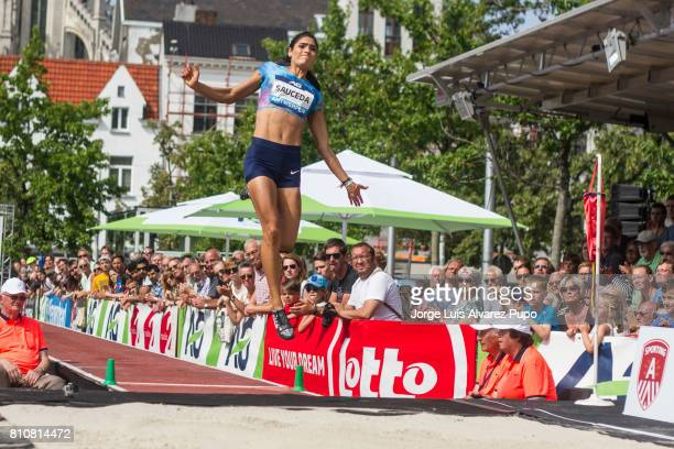 Jessamyn Sauceda of Mexico competes in the women Long Jump during the Urban Memorial Van Damme on July 08 2017 at the Grand Plaza in Antwerp Belgium