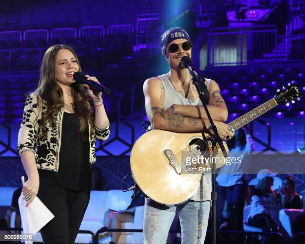 Jesse and Joy are seen during rehearsal at Univision's 'Premios Juventud' 2017 Celebrates The Hottest Musical Artists And Young Latinos ChangeMakers...