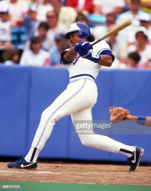 Jesse Barfield of the Toronto Blue Jays bats during an MLB game at Exhibition Stadium in Toronto Canada Barfield played for the Blue Jays from...