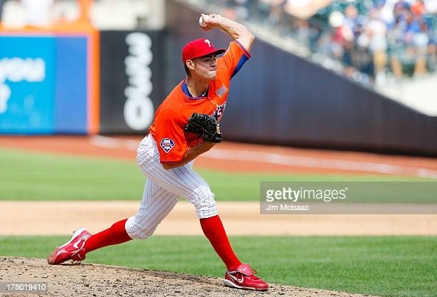 Jesse Biddle of the United States in action against the World Team during the SiriusXM AllStar Futures Game on July 14 2013 at Citi Field in the...