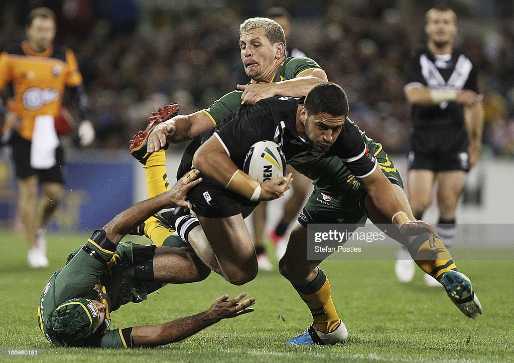 Jesse Bromwich of the Kiwis is tackled during the ANZAC Test match between the Australian Kangaroos and the New Zealand Kiwis at Canberra Stadium on April 19, 2013 in Canberra, Australia.