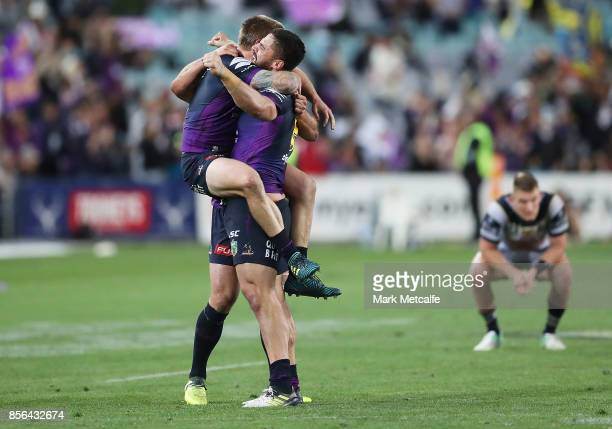Jesse Bromwich of the Storm celebrates victory in the 2017 NRL Grand Final match between the Melbourne Storm and the North Queensland Cowboys at ANZ...