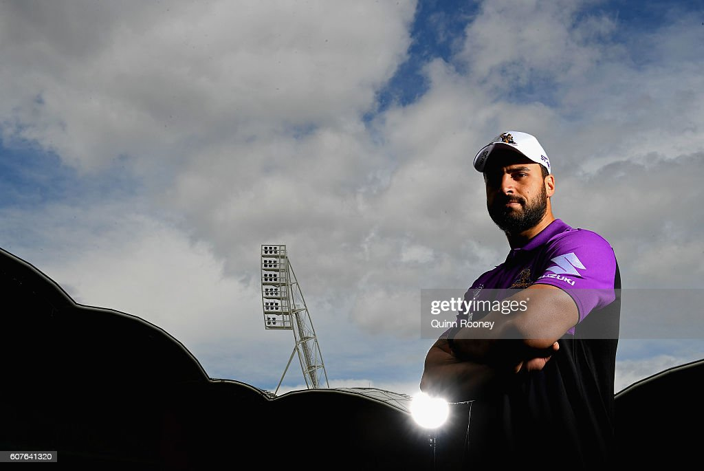 Jesse Bromwich of the Storm poses during a Melbourne Storm NRL Media Opportunity at AAMI Park on September 19, 2016 in Melbourne, Australia.