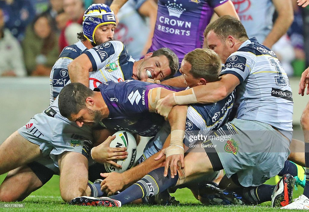 Jesse Bromwich of the Storm scores their second try during the NRL Qualifying Final match between the Melbourne Storm and the North Queensland Cowboys at AAMI Park on September 10, 2016 in Melbourne, Australia.