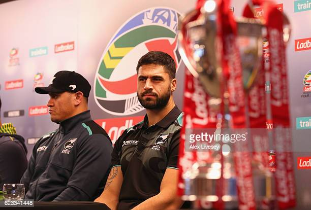 Jesse Bromwich the captain of New Zealand Kiwis looks on alongside his coach David Kidwell during a press conference at the Four Nations Final media...