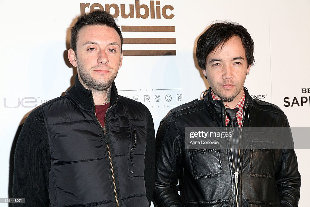 Jesse Charland (L) and Douglas Robb attend the Republic Records post GRAMMY party at the Emerson Theatre on February 10, 2013 in Hollywood, California.
