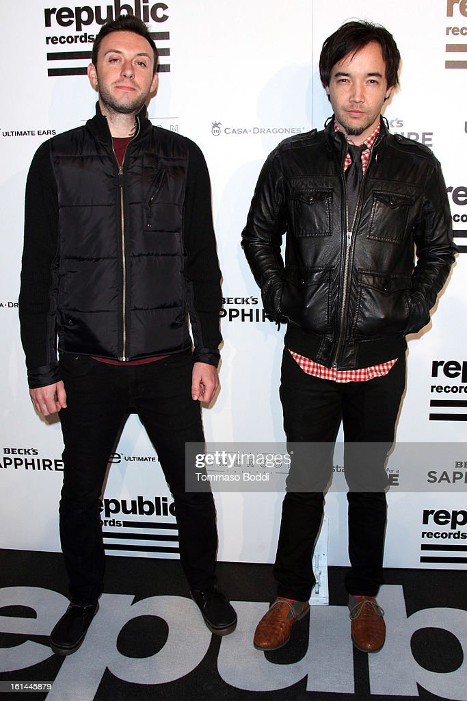 Jesse Charland (L) and Douglas Robb attend the Republic Records post GRAMMY party held at The Emerson Theatre on February 10, 2013 in Hollywood, California.
