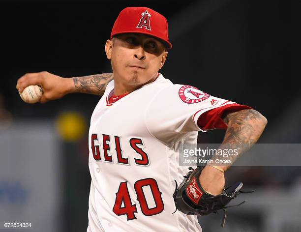 Jesse Chavez of the Los Angeles Angels in the second inning of the game against the Toronto Blue Jays at Angel Stadium of Anaheim on April 24 2017 in...