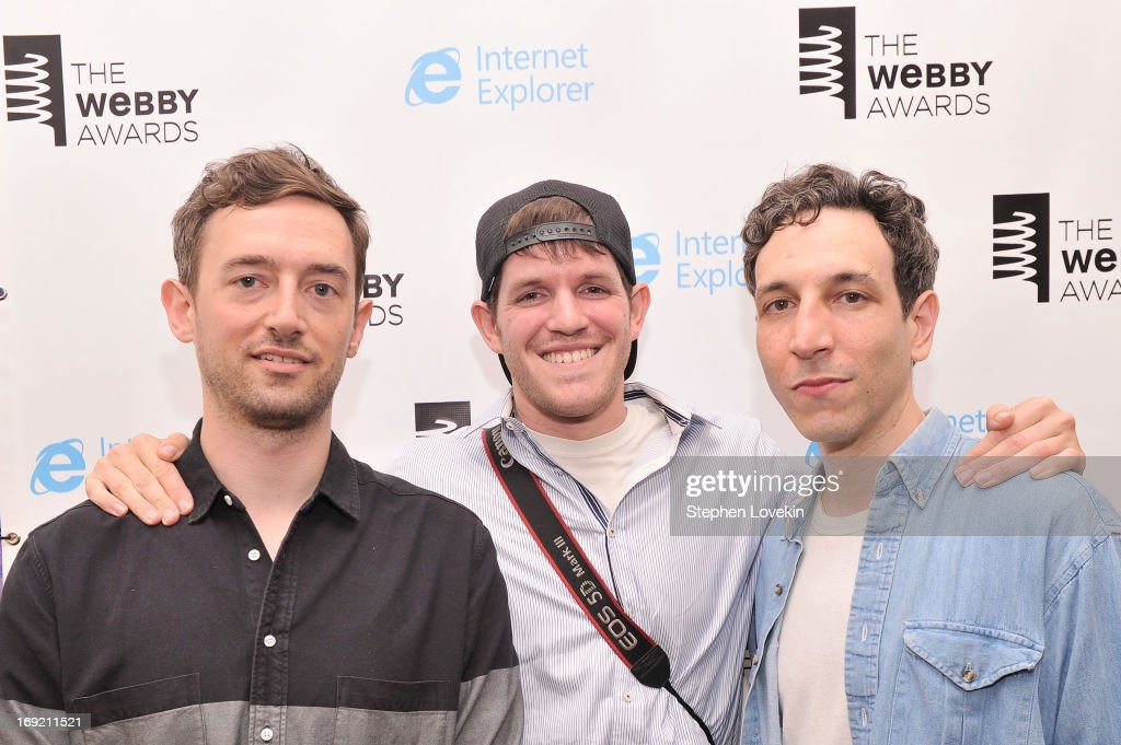 Jesse Cohen and Eric Emm of Tanlines pose with photographer Brandon Stanton (C) accepting the Blog-Cultural award at the 17th Annual Webby Awards at Cipriani Wall Street on May 21, 2013 in New York City.