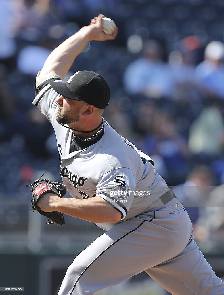 <a gi-track='captionPersonalityLinkClicked' href=/galleries/search?phrase=Jesse+Crain&family=editorial&specificpeople=234841 ng-click='$event.stopPropagation()'>Jesse Crain</a> #26 of the Chicago White Sox throws against the Kansas City Royals in the 10th inning at Kauffman Stadium on May 6, 2013 in Kansas City, Missouri. The White Sox won 2-1 in 11 innings.