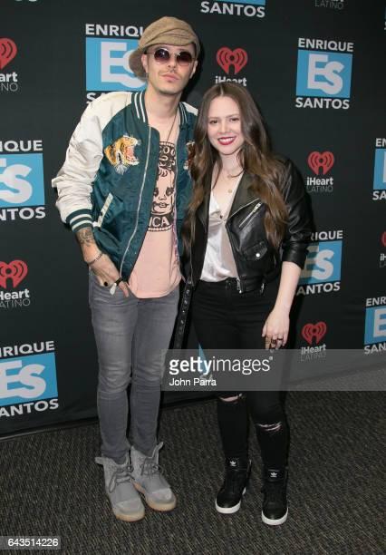 Jesse Eduardo Huerta Uecke and Tirzah Joy Huerta Uecke of Jesse y Joy visit Enrique Santos Show On Tu949 I Heart Latino on February 21 2017 in Miami...