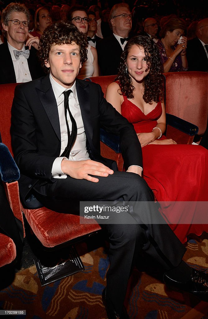 <a gi-track='captionPersonalityLinkClicked' href=/galleries/search?phrase=Jesse+Eisenberg&family=editorial&specificpeople=625439 ng-click='$event.stopPropagation()'>Jesse Eisenberg</a> and Hallie Eisenberg attend The 67th Annual Tony Awards backstage at Radio City Music Hall on June 9, 2013 in New York City.