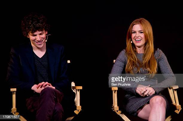 Jesse Eisenberg and Isla Fisher attend a QA session about there new film 'Now You See Me' at Apple Store Regent Street on June 19 2013 in London...