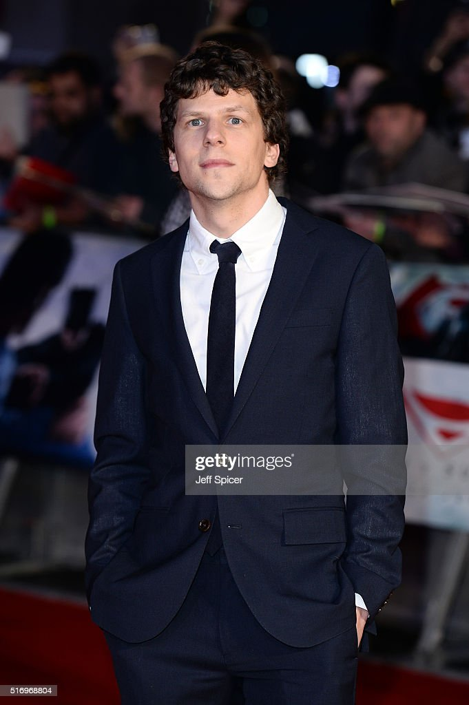 <a gi-track='captionPersonalityLinkClicked' href=/galleries/search?phrase=Jesse+Eisenberg&family=editorial&specificpeople=625439 ng-click='$event.stopPropagation()'>Jesse Eisenberg</a> arrives for the European Premiere of 'Batman V Superman: Dawn Of Justice' at Odeon Leicester Square on March 22, 2016 in London, England.
