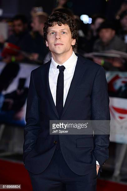 Jesse Eisenberg arrives for the European Premiere of 'Batman V Superman Dawn Of Justice' at Odeon Leicester Square on March 22 2016 in London England