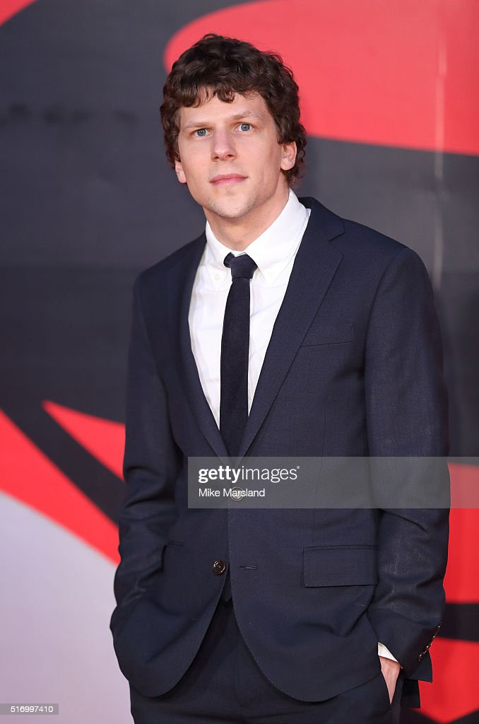 Jesse Eisenberg arrives for the European Premiere of 'Batman V Superman: Dawn Of Justice' at Odeon Leicester Square on March 22, 2016 in London, England.