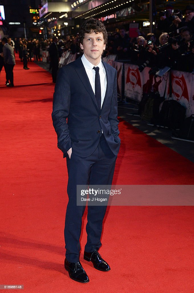 <a gi-track='captionPersonalityLinkClicked' href=/galleries/search?phrase=Jesse+Eisenberg&family=editorial&specificpeople=625439 ng-click='$event.stopPropagation()'>Jesse Eisenberg</a> attends the European Premiere of 'Batman V Superman: Dawn Of Justice' at Odeon Leicester Square on March 22, 2016 in London, England.