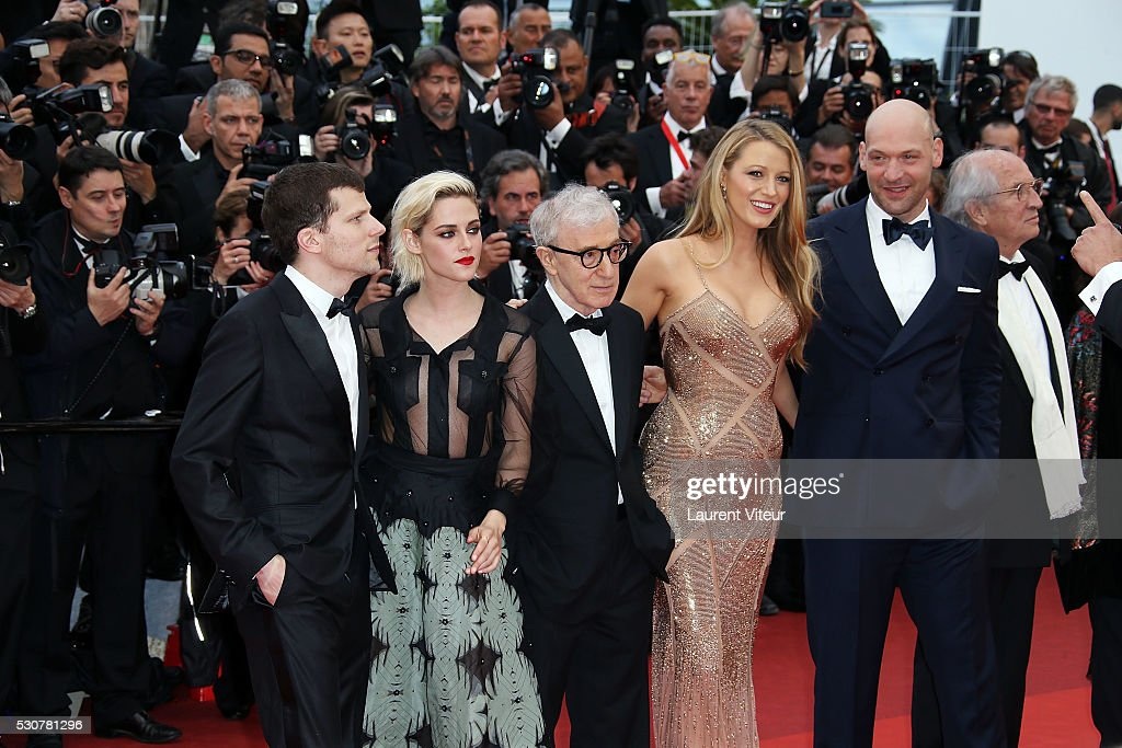 Jesse Eisenberg, Kristen Stewart, Woody Allen, Blake Lively and Corey Stoll attend the 'Cafe Society' premiere and the Opening Night Gala during the 69th annual Cannes Film Festival on May 11, 2016 in Cannes, France.