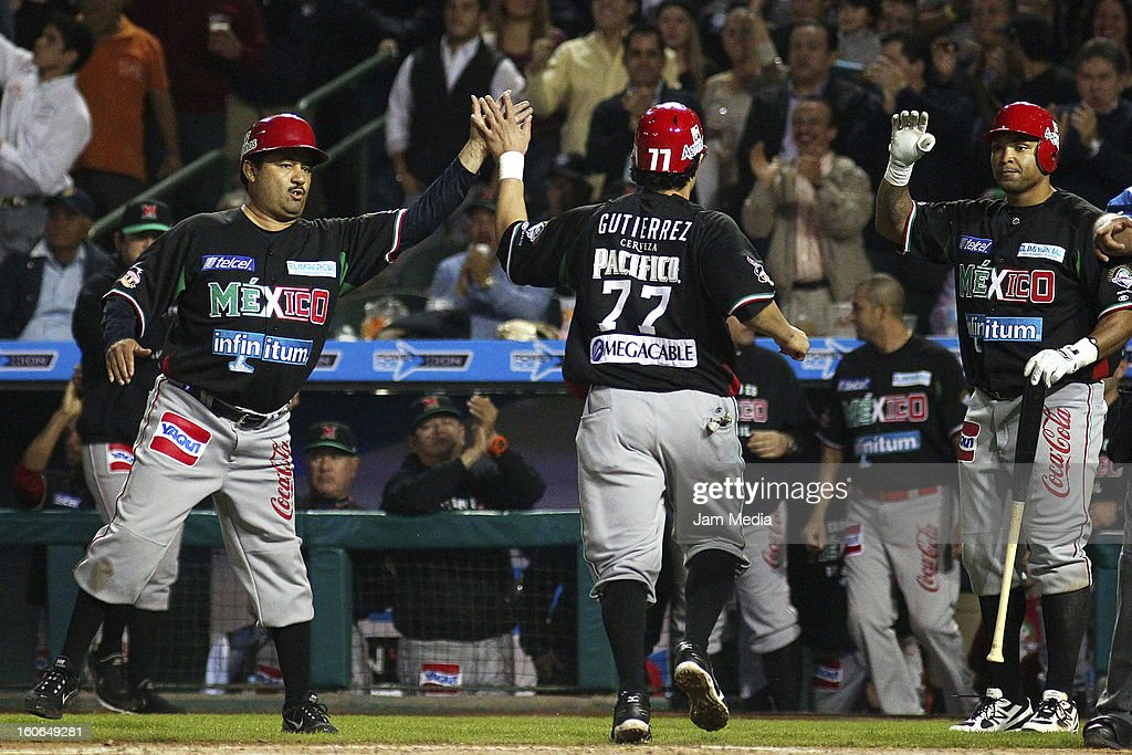 Jesse Gutierrez of Mexico celebrates with his teammates during the Caribbean Series Baseball 2013 in Sonora Stadium on February 2, 2013 in Hermosillo, Mexico.