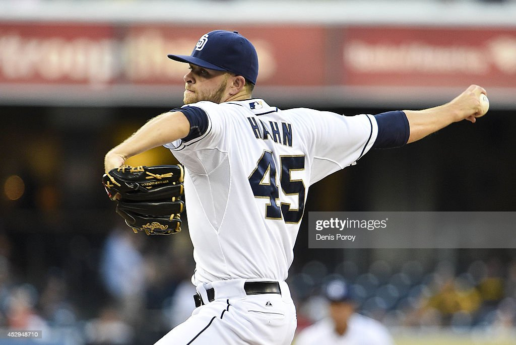 Jesse Hahn #45 of the San Diego Padres pitches during the first inning of a baseball game against theSt. Louis Cardinals at Petco Park July 30, 2014 in San Diego, California.