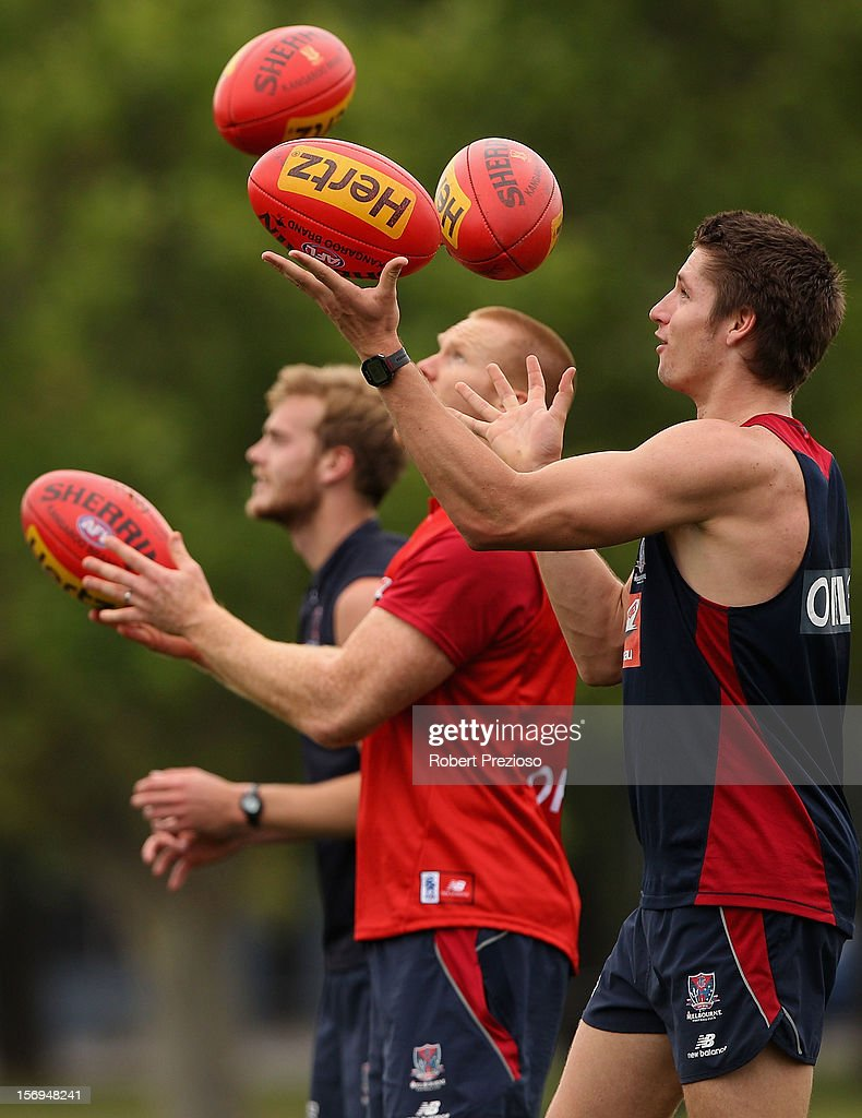 Jesse Hogan gathers the ball during a Melbourne Demons AFL pre-season training session at Gosch's Paddock on November 26, 2012 in Melbourne, Australia.