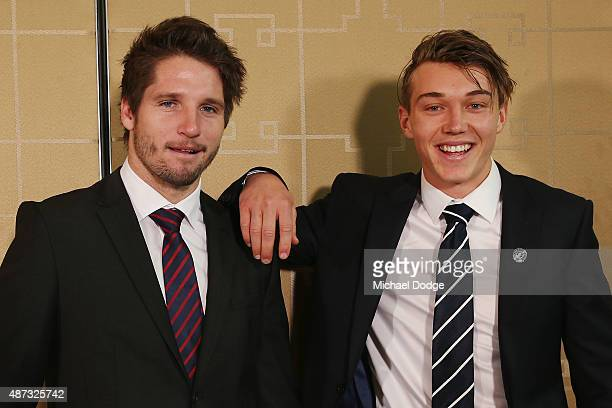 Jesse Hogan of the Demons and Patrick Cripps of the Blues pose during the 2015 AFL Rising Star at Crown Palladium on September 9 2015 in Melbourne...