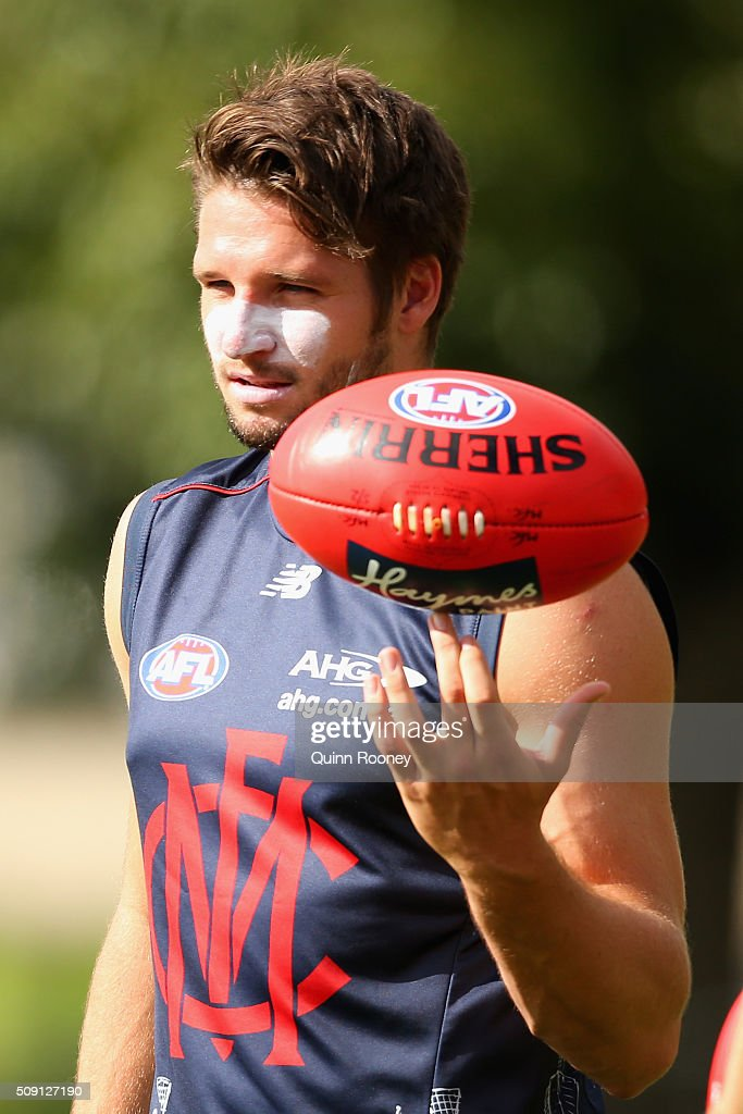 Jesse Hogan of the Demons balances the ball on his finger during a Melbourne Demons AFL pre-season training session at Gosch's Paddock on February 9, 2016 in Melbourne, Australia.