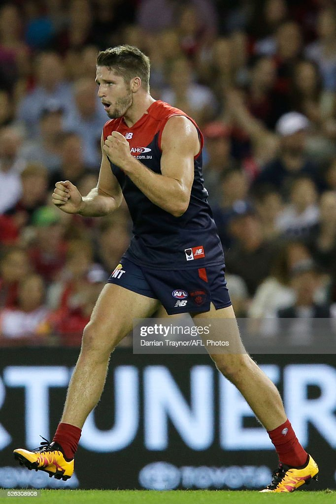 Jesse Hogan of the Demons celebrates a goal during the round six AFL match between the Melbourne Demons and the St Kilda Saints at Etihad Stadium on April 30, 2016 in Melbourne, Australia.