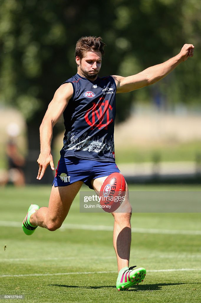 Jesse Hogan of the Demons kicks during a Melbourne Demons AFL pre-season training session at Gosch's Paddock on February 9, 2016 in Melbourne, Australia.