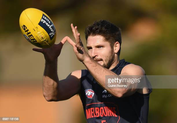 Jesse Hogan of the Demons marks during a Melbourne Demons AFL training session at Gosch's Paddock on June 20 2017 in Melbourne Australia