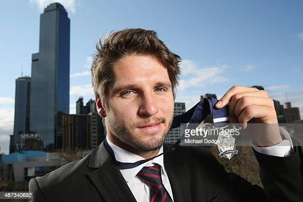 Jesse Hogan of the Demons poses after winning the 2015 AFL Rising Star at Crown Palladium on September 9 2015 in Melbourne Australia