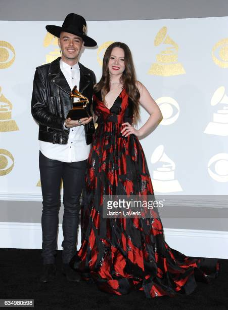 Jesse Huerta and Joy Huerta of Jesse Joy pose in the press room at the 59th GRAMMY Awards at Staples Center on February 12 2017 in Los Angeles...