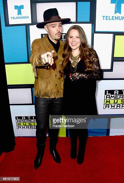 Jesse Huerta and Joy Huerta of Jesse Joy pose in the press room during Telemundo's Latin American Music Awards at the Dolby Theatre on October 8 2015...
