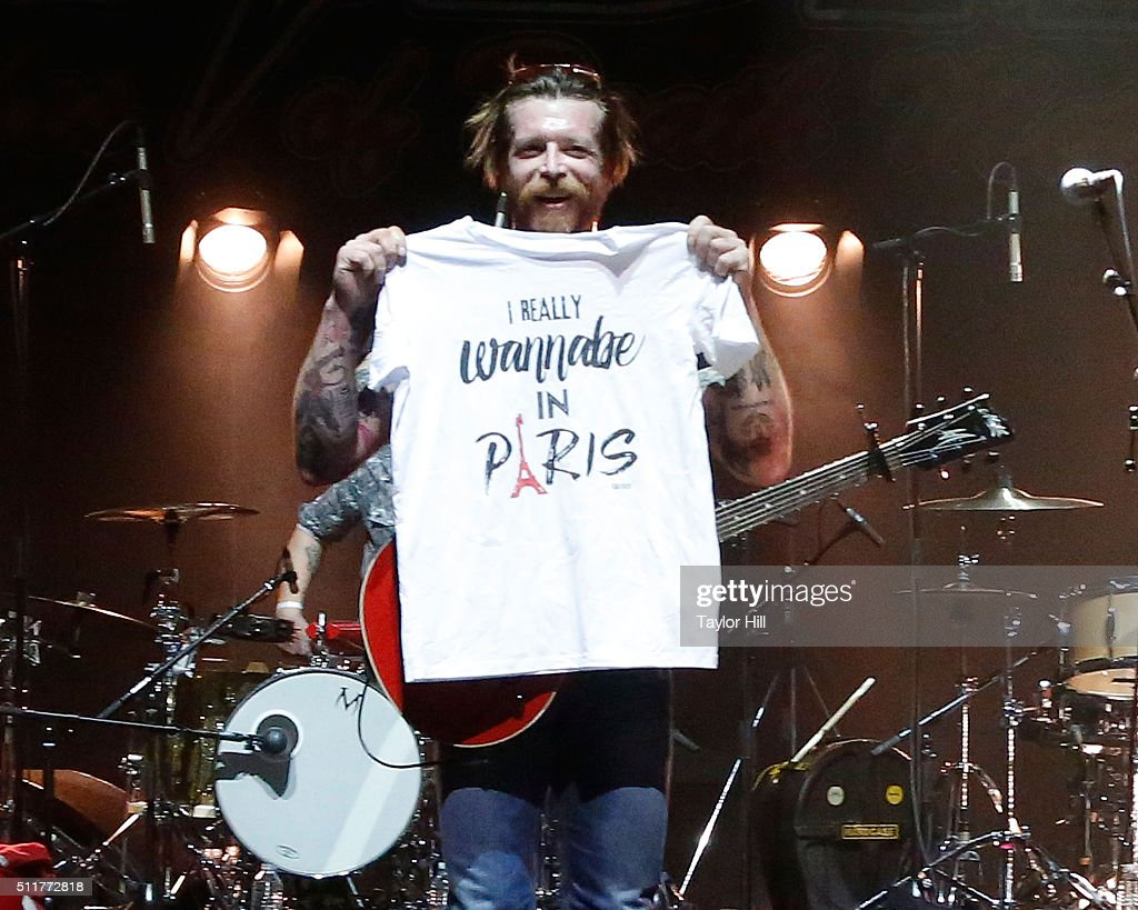 Jesse Hughes of Eagles of Death Metal performs at L'Olympia on February 16, 2016 in Paris, France.