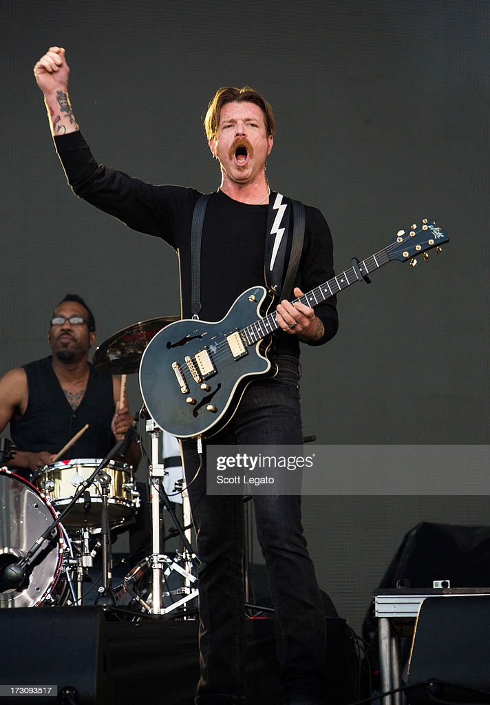<a gi-track='captionPersonalityLinkClicked' href=/galleries/search?phrase=Jesse+Hughes&family=editorial&specificpeople=712078 ng-click='$event.stopPropagation()'>Jesse Hughes</a> of Eagles of Death Metal performs during the Quebec Festival D'ete on July 6, 2013 in Quebec City, Canada.