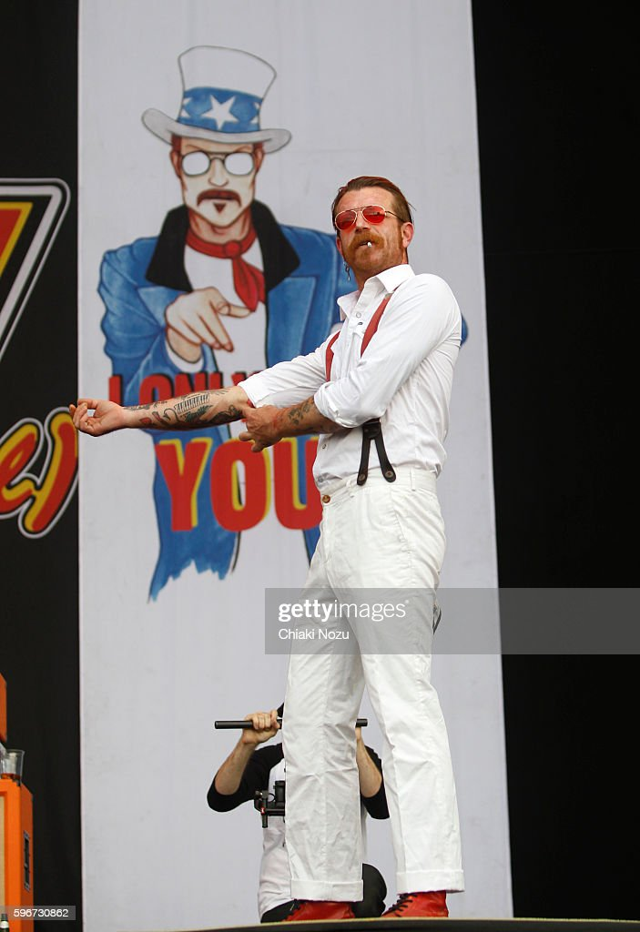 Jesse Hughes of Eagles of Death Metal performs on Day 2 of Reading Festival at Richfield Avenue on August 27, 2016 in Reading, England.