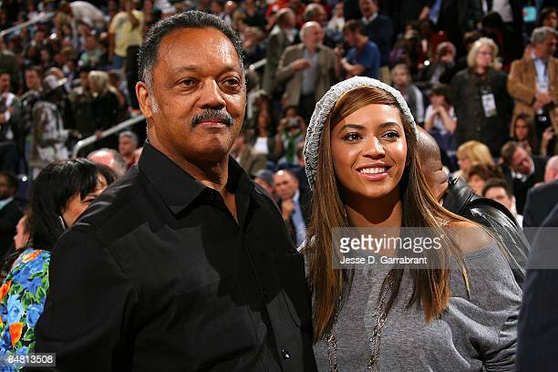 Jesse Jackson and and Beyonce Knowles talk before the 58th NBA AllStar Game part of 2009 NBA AllStar Weekend at US Airways Center on February 15 2009...