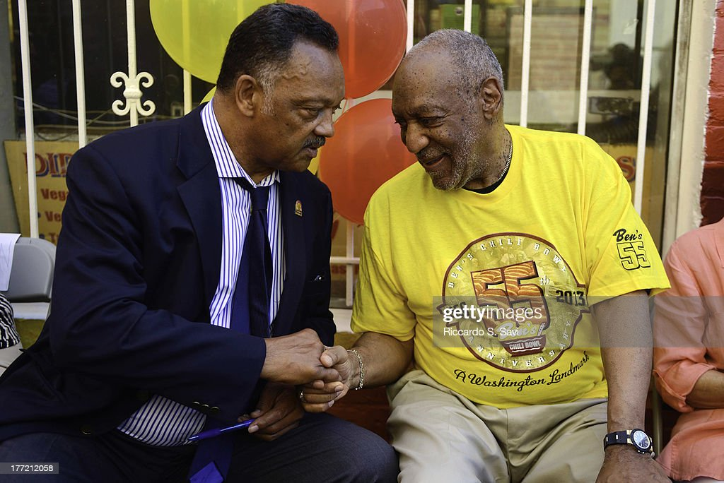 Jesse Jackson and <a gi-track='captionPersonalityLinkClicked' href=/galleries/search?phrase=Bill+Cosby&family=editorial&specificpeople=206281 ng-click='$event.stopPropagation()'>Bill Cosby</a> attend the 55th Anniversary of Ben's Chili Bowl on August 22, 2013 in Washington, DC.