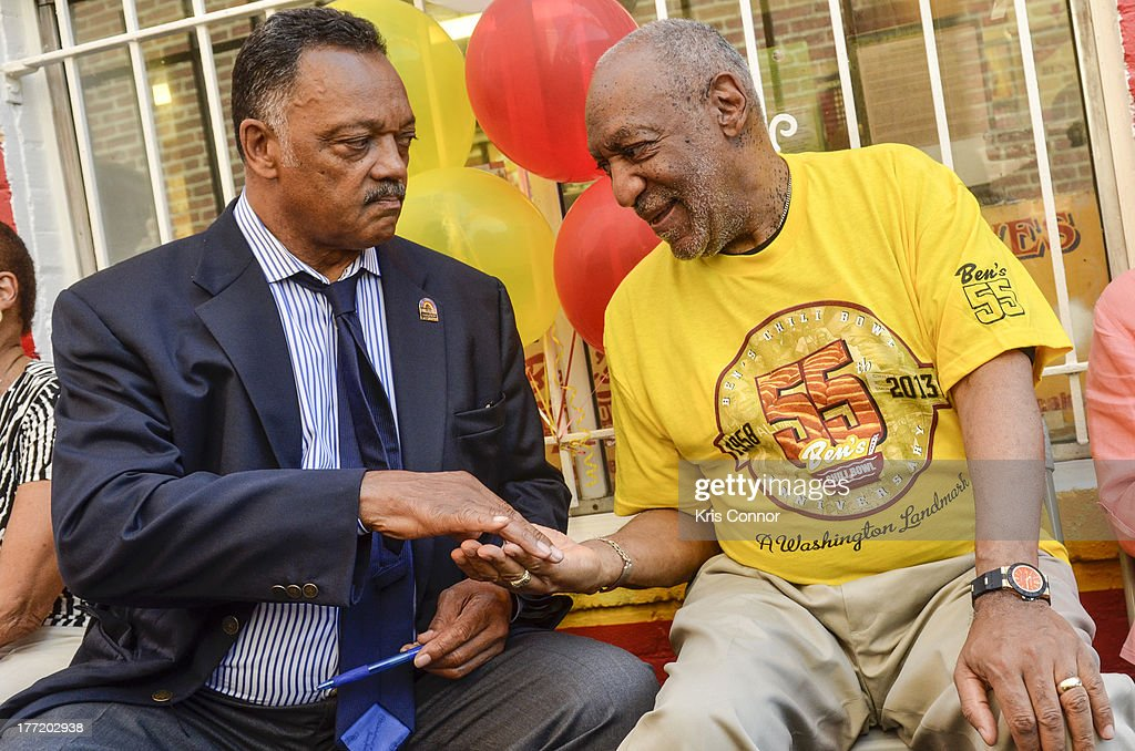 Jesse Jackson and <a gi-track='captionPersonalityLinkClicked' href=/galleries/search?phrase=Bill+Cosby&family=editorial&specificpeople=206281 ng-click='$event.stopPropagation()'>Bill Cosby</a> speak during the 55th Anniversary of Ben's Chili Bowl on August 22, 2013 in Washington, DC.