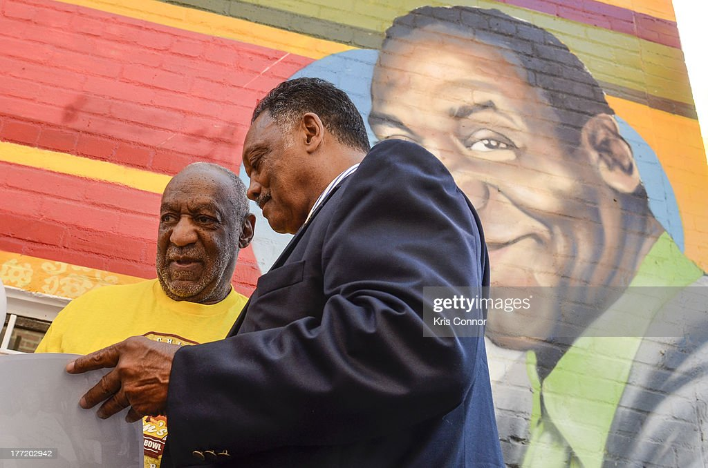 Jesse Jackson and Bill Cosby speak during the 55th Anniversary of Ben's Chili Bowl on August 22, 2013 in Washington, DC.