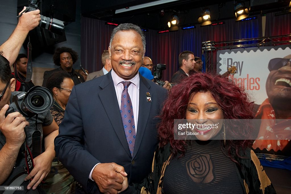 Jesse Jackson and <a gi-track='captionPersonalityLinkClicked' href=/galleries/search?phrase=Chaka+Khan&family=editorial&specificpeople=208691 ng-click='$event.stopPropagation()'>Chaka Khan</a> attend the U.S. Postal Service First Day Of Issue Ceremony for the Ray Charles Forever Stamp at The GRAMMY Museum on September 23, 2013 in Los Angeles, California.