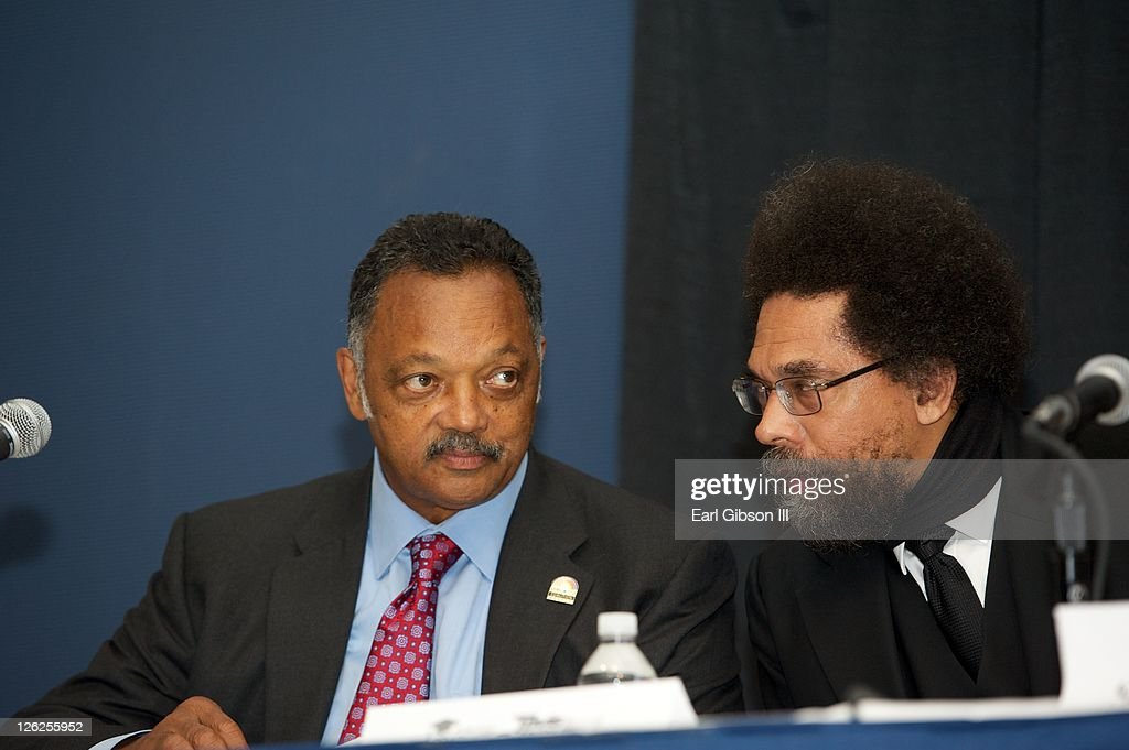 Jesse Jackson and <a gi-track='captionPersonalityLinkClicked' href=/galleries/search?phrase=Cornel+West&family=editorial&specificpeople=1017241 ng-click='$event.stopPropagation()'>Cornel West</a> sit on a panel for a session at the Congressional Black Caucus Foundation's 41st annual legislative conference on September 23, 2011 in Washington, DC.