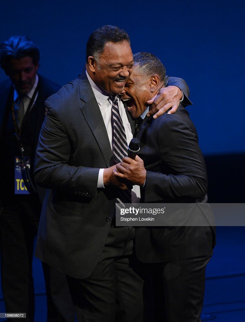 Jesse Jackson (L) and <a gi-track='captionPersonalityLinkClicked' href=/galleries/search?phrase=Giancarlo+Esposito&family=editorial&specificpeople=725984 ng-click='$event.stopPropagation()'>Giancarlo Esposito</a> share an embrace onstage at The Creative Coalition's 2013 Inaugural Ball at the Harman Center for the Arts on January 21, 2013 in Washington, United States.