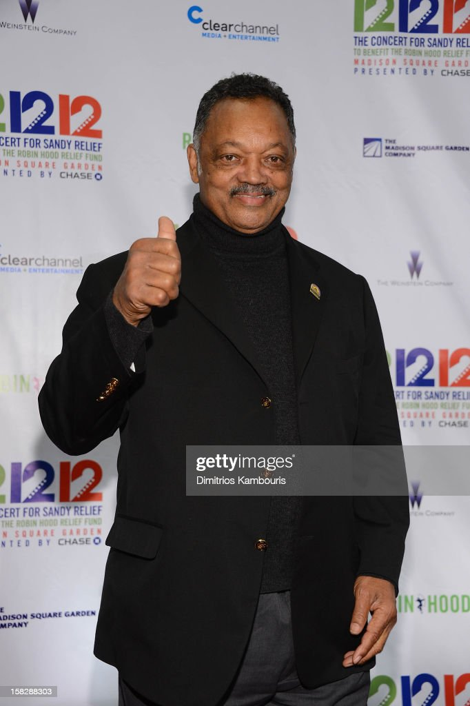 Jesse Jackson attends '12-12-12' a concert benefiting The Robin Hood Relief Fund to aid the victims of Hurricane Sandy presented by Clear Channel Media & Entertainment, The Madison Square Garden Company and The Weinstein Company at Madison Square Garden on December 12, 2012 in New York City.