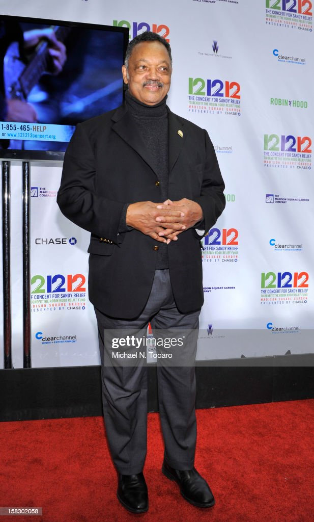 Jesse Jackson attends 12-12-12 the Concert for Sandy Relief at Madison Square Garden on December 12, 2012 in New York City.