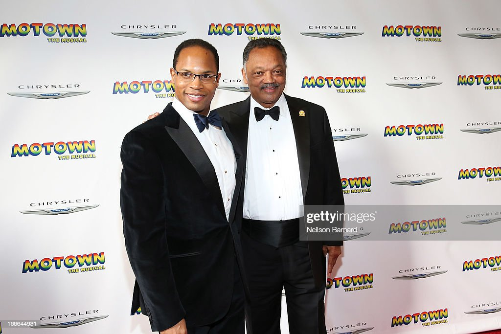 Jesse Jackson (R) attends the Broadway opening night for 'Motown: The Musical' at Lunt-Fontanne Theatre on April 14, 2013 in New York City.