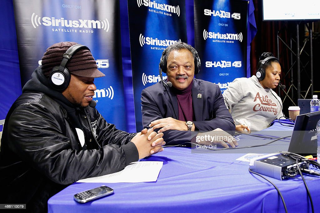Jesse Jackson (C) attends the Shade 45 show with Sway Calloway and Heather B on SiriusXM At Super Bowl XLVIII Radio Row on January 31, 2014 in New York City.