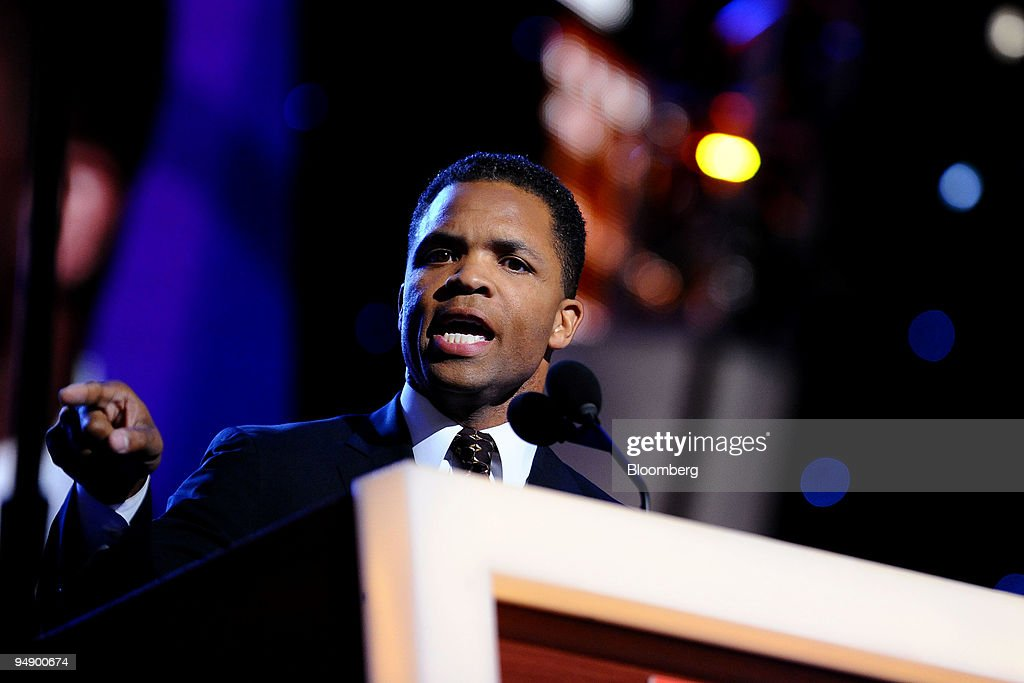 Jesse Jackson Jr a Democratic representative from Illinois speaks during day one of the 2008 Democratic National Convention in Denver Colorado US on...