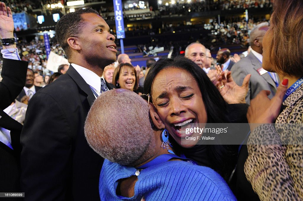 Jesse Jackson Jr and his wife Sandy on the floor of the Pepsi Center during the third day of the Democratic National Convention on Wednesday August...